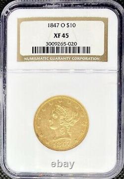 1847-o $10 Gold Liberty Head American Eagle Xf45 Ngc Rare Mint Coin