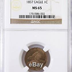 1857 Flying Eagle 1c Ngc Certifié Ms65 Us Mint Copper Petit Cent Penny Coin