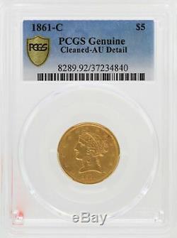 1861-c $ 5 Pièces D'or De Liberty Head Half Eagle Pcgs Au Détails Coin Charlotte Mint Jd588