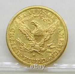 1887 Us Mint $ 5 Dollar Half Eagle Liberty Head Pièce D'or Livraison Gratuite