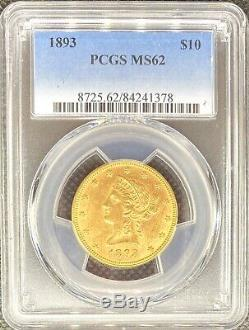 1893 $ 10 American Gold Eagle Head Liberté Pcgs Ms62 Rare Date De Mint Coin