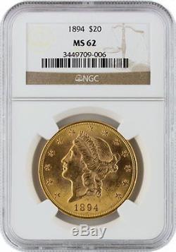 1894 20 $ Liberty Head Double Eagle Pcgs Ms 62 Ancienne Pièce D'or Ancienne Monnaie Unc 62