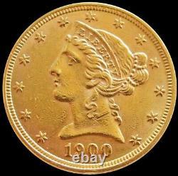 1900 Or États-unis $5 Liberty Head Half Eagle Coin Philadelphia Mint