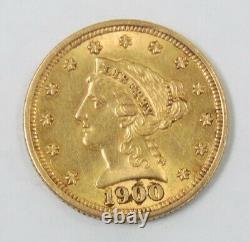 1900 Us Mint $2.50 Quarter Eagle Liberty Head Gold Coin Au Livraison Gratuite