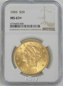 1903 Or 20 $ Liberté Head Double Eagle Coin Ngc Mint État 63+