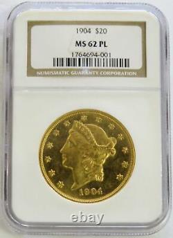 1904 Preuve D'or Comme Ngc État De La Monnaie 62 Pl 20 $ Nous Liberty Double Eagle Coin