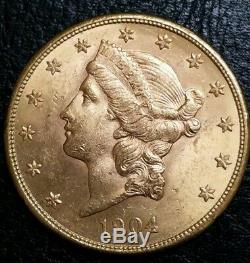 1904 S $ 20 Or Double Eagle Old Mint Etat Très Belle Miners Bu Gold Coin