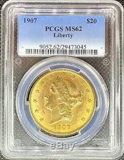 1907 $ 20 Golds Double American Eagle Ms62 Pcgs Liberté Head Brillant Mint Coin