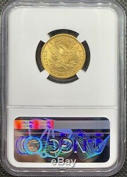 1907 La Moitié D'or American Eagle 5 $ Liberté Head Ms63 Ngc Lustrous Mint Coin