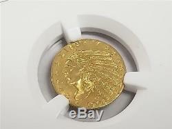 1908 $ 2.5 Or Indian Quarter Quarter Eagle Au Détails Pièce De Monnaie Us Ngc Ngc