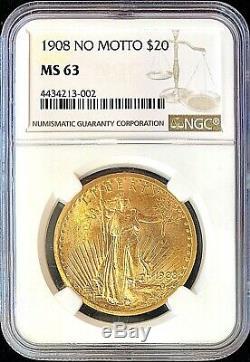 1908 Non Motto 20 $ Américain Gold Eagle Saint Gaudens Ms63 Ngc Monnaie Pièce