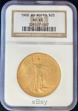 1908 Non Motto 20 $ Américain Gold Eagle Saint Gaudens Ms63 Ngc Og Slab Monnaie Pièce
