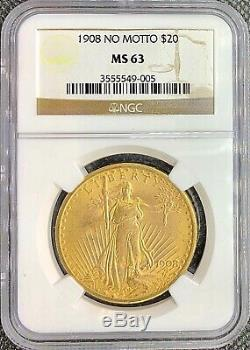 1908 Non Motto 20 $ American Gold Double Eagle Saint Gaudens Ms63 Ngc Mint Coin