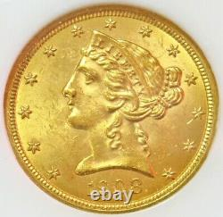 1908 Or États-unis $5 Liberty Head Half Eagle Coin Ngc Mint State 63