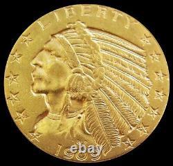 1909 D Gold Us $5 Dollar Indian Head Half Eagle Coin Denver Mint