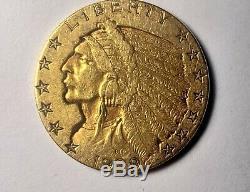 1909 Us Gold $ 5 Dollar Indian Head Half Eagle Coin Monnaie De Philadelphie