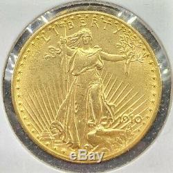 1910-d 20 $ American Gold Double Eagle Saint Gaudens Ua / Ms Key Date / Monnaie Pièce