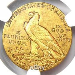 1910-s Or Half Eagle Indian 5 $ Coin Certifié Ngc Au53 Rare S Monnaie