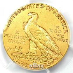 1910-s Or Indian Half Eagle $ 5 Coin Certifié Pcgs Xf40 Rare S Monnaie