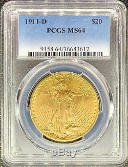 1911-d 20 $ American Gold Double Eagle Saint Gaudens Ms64 Pcgs Mint Clés Date Coin