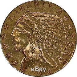 1914-d $ 5 Pièces D'or Indian Half Eagle Pre-33 Raw Us Coin Au Better Date / Monnaie
