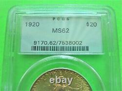 1920 St. Gaudens 20 $ Médaille D'or Eagle Pcgs Ms62 Old Green Label Gold Coin Monnaie