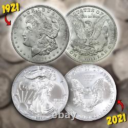 1921 / 2021 Ensemble De Dollars D'argent Gem Bu Morgan + American Eagle Unc Estate Lot