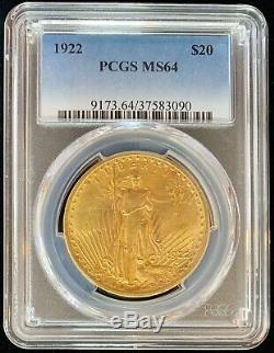 1922 $ 20,00 Usd Pièce De Date Clé En Or Américain Double Aigle Saint Gaudens Ms64 Pcgs Mint 20