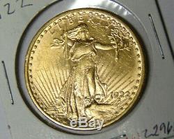 1922 Saint-gaudens 20 $ En Or Double Eagle Monnaie De Philadelphie Pré-1933 Pièce D'or