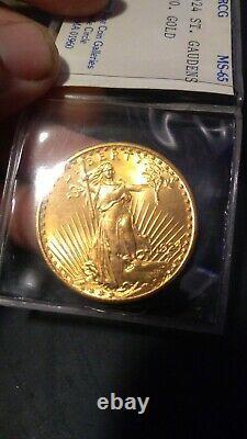 1924 20 $ Pièce D'or St Saint Gaudens Double Aigle Crcg Mint 65