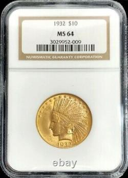 1932 Or États-unis 10 $ Dollar Indian Head Eagle Coin Ngc Mint State 64
