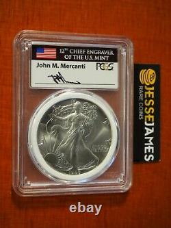 1986 $1 American Silver Eagle Pcgs Ms70 Mercanti Signé Mint Engravers Series