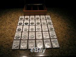 1986-2014 Argent Eagles + American Ngc Ms69 + De Us Mint + 30 Pièces En Cas