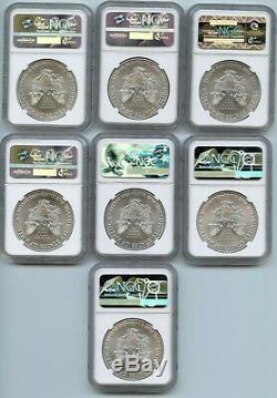 1986 2019 American Eagle 1 Oz Silver Dollar Set Ngc Ms 69 Lot Certifié Rw918