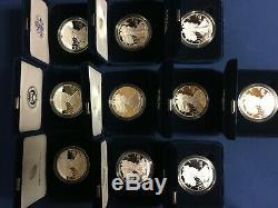 1986 2019 Dollar Argent American Eagle Proof - Jeu De 34 Pièces En Us Mint Boxes