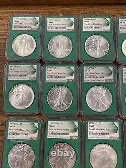 1986-2020 (35) Mine Silver Eagle Set Green Core Ms69 (us Mint Sealed Box) 1996