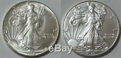 1986 2020 Us Mint Argent Eagles Complete 35 Année 1 Rouleau Par An Run 700 Pièces