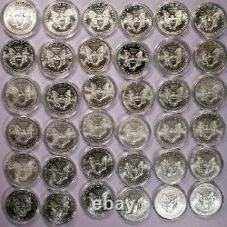 1986-2021 American Silver Eagle Lot De 36 Pièces Bu Item#j