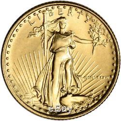 1986 Américaine Gold Eagle 1/10 Oz Pièce De 5 $ Bu En U. S. Mint Boîte-cadeau