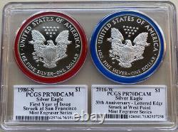 1986 Et 2016 Pcgs Pr70dcam American Silver Eagle Set. Série De Graveurs À La Menthe