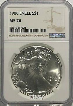1986 Ngc Ms70 $ 1 Mint État Argent American Eagle 1 Oz. Question 999 Première Année