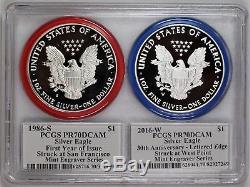1986 S & 2016 W $ 1 Épreuve Silver Eagle Série Pcgs Pr70 Mercanti Mint
