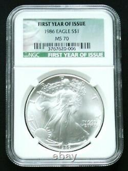 1986 Silver American Eagle First Year Issue Green Label Ngc Ms70 Perfect Mint