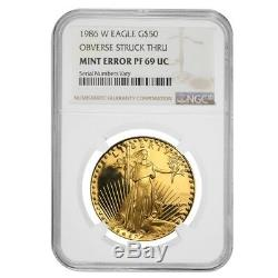1986 W 50 Oz $ 1 Proof Gold Eagle Américain Ngc Pf 69 Erreur Monnaie (avers Struck Thru)