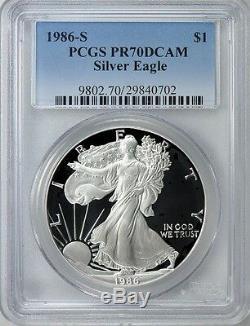 1986-s Première Année Preuve 70 San Francisco Menthe Silver Eagle Pcgs Pr70 Dcam