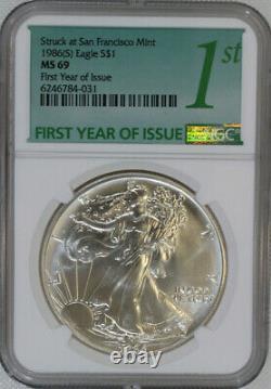 1986 (s) Silver Eagle Ngc Ms69 / Première Édition / Frappe À La Monnaie De San Francisco