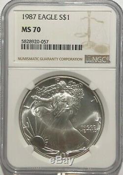 1987 Ngc Ms70 Argent American Eagle Mint État 1 Oz. 999 Fin Bullion Clean Coin