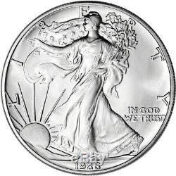 1988 American Silver Eagle (1 Oz) 1 $ 1 Rouleau Vingt Pièces De 20 Bu Dans Un Tube À La Menthe