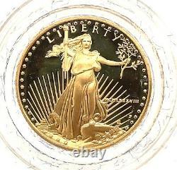 1988 P $5 Gold American Eagle Proof 1/10 Oz Coffret Collecteur Coa Us Mint