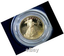 1990 1/10 Once De 5 $ Preuve De Gemme Or American Eagle W Box + Preuve De Coa Miroir Menthe